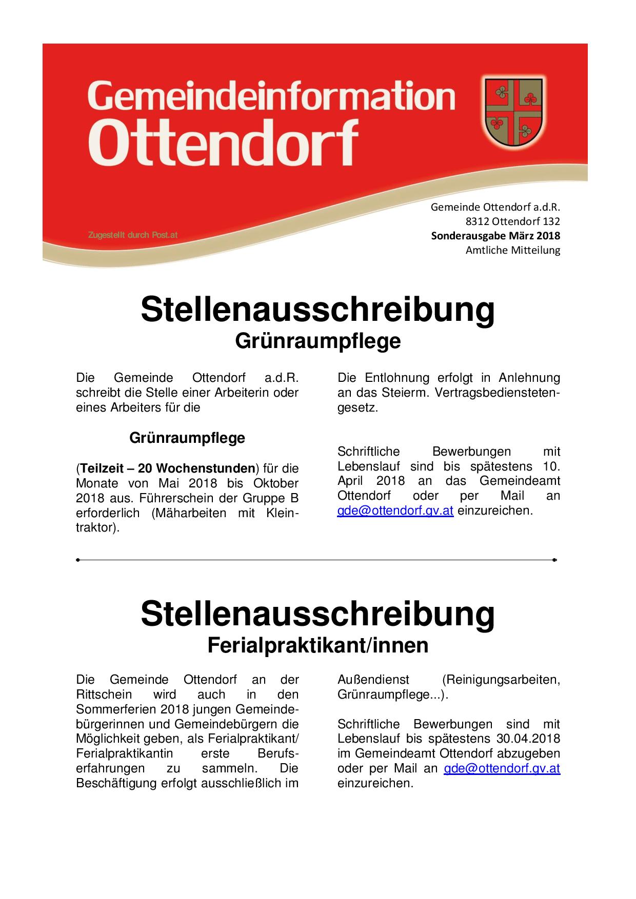 Sonderausgabe März 2018 / Stellenausschreibung - Ottendorf an der  Rittschein - RiS-Kommunal - Home - Bürgerservice - Gemeindezeitungen